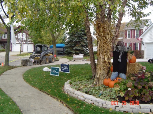 This is the front yard of a McCain supporter, Mike Martinez assumes, for whom perhaps irony is elusive. Happy Halloween.